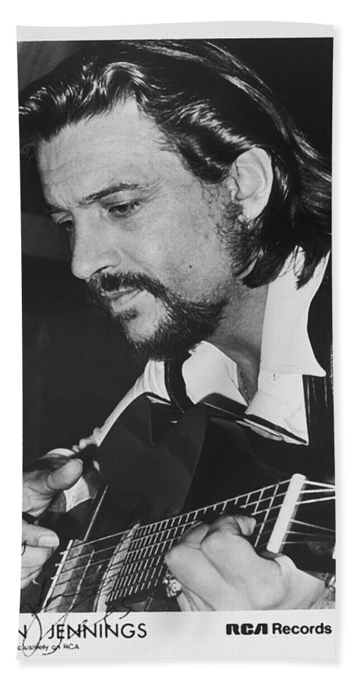 Publicity Photo Bath Sheet featuring the photograph Waylon Jennings 1971 Signed by Mountain Dreams