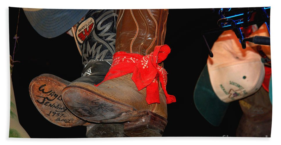 Luckenbach Hand Towel featuring the photograph Waylon Jennings Boots by Susanne Van Hulst