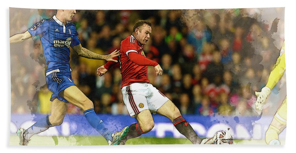 Uefa Chamipons League Bath Sheet featuring the digital art Wayne Rooney Of Manchester United Scores by Don Kuing