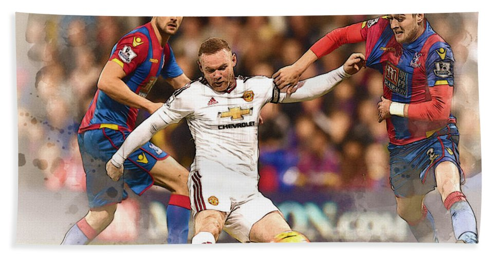 Uefa Chamipons League Bath Sheet featuring the digital art Wayne Rooney Shoots At Goal by Don Kuing