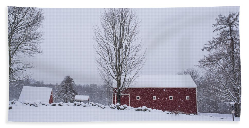 Wayside Hand Towel featuring the photograph Wayside Inn Grist Mill Covered In Snow Storm 2 by Toby McGuire