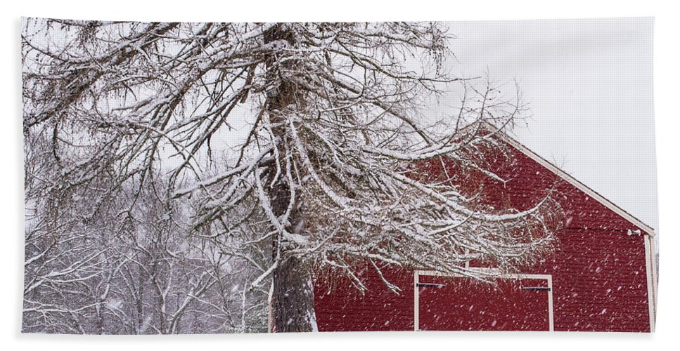 Wayside Hand Towel featuring the photograph Wayside Inn Red Barn Covered In Snow Storm Reflection by Toby McGuire