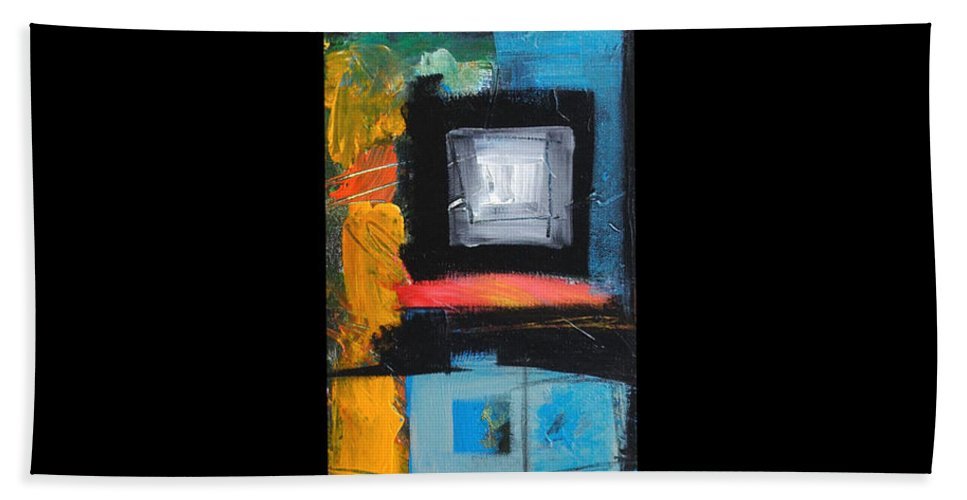 Abstract Bath Towel featuring the painting We Interrupt Detail by Tim Nyberg