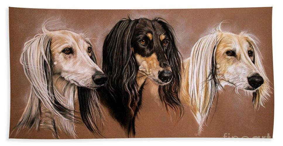 Saluki Hand Towel featuring the drawing 'we Three Salukis' by Caroline Collinson