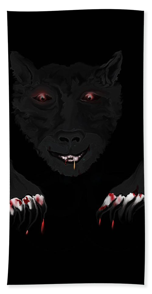 Wearwolf Wolf Scary Blood Eyes Haunting Black Claws Nails Fangs Bath Sheet featuring the digital art Wearwolf by Andrea Lawrence