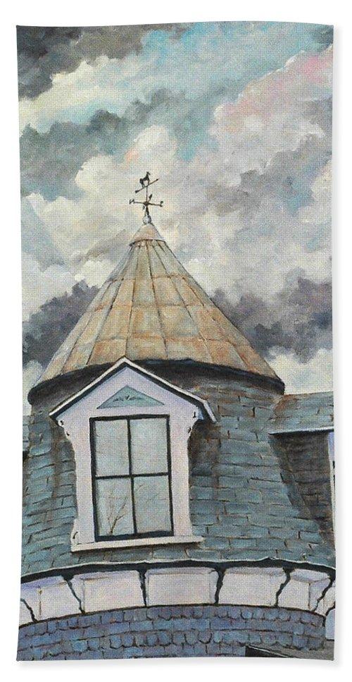 Urban Scene Bath Towel featuring the painting Weather Vane by Richard T Pranke