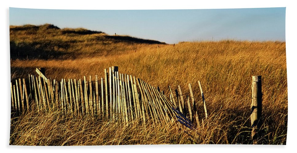 Cape Cod Bath Sheet featuring the photograph Weathered Dune Fence. by John Greim