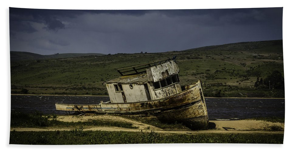 Old Hand Towel featuring the photograph Weathered Fishing Boat by Garry Gay
