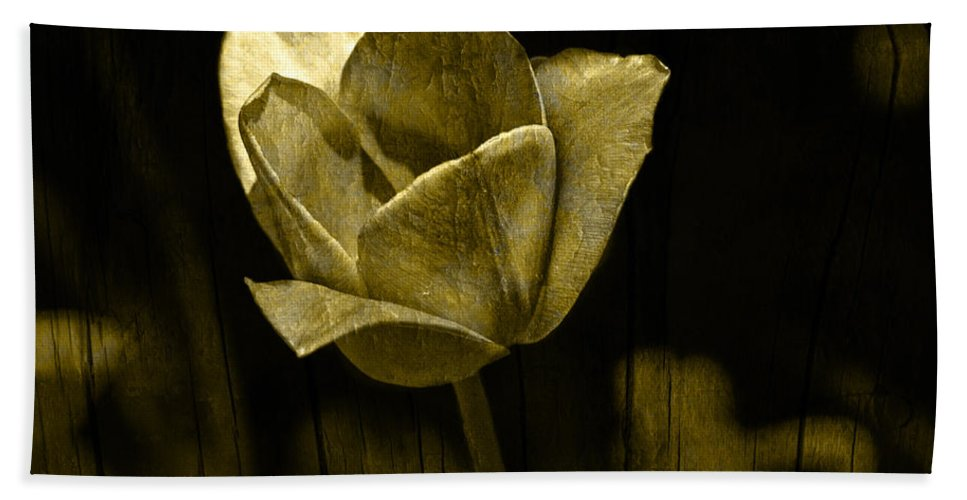 Tulip Hand Towel featuring the photograph Weathered Golden Tulip by John Stephens