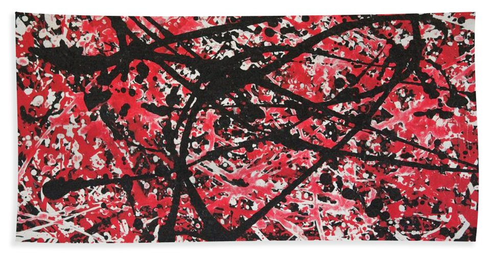 Abstract Acrylic Paint Bath Sheet featuring the painting Web Of Fire by Jane Gannon