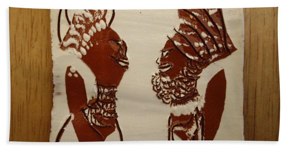 Jesus Bath Sheet featuring the ceramic art Wedded Bliss - Tile by Gloria Ssali