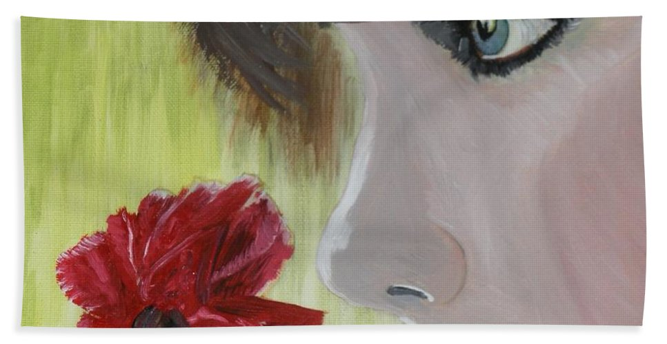 Romance Hand Towel featuring the painting Wedding Rose by J Bauer