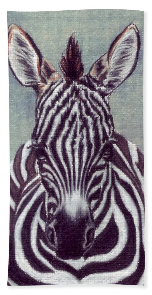 Zebra Hand Towel featuring the drawing Wee Zeeb by Kristen Wesch