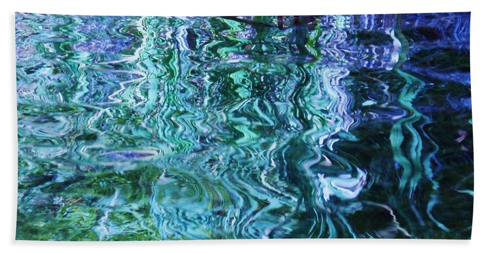 Photograph Blue Green Weed Shadow Lake Water Bath Sheet featuring the photograph Weed Shadows by Seon-Jeong Kim