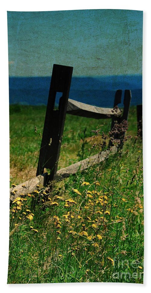 Fence Bath Sheet featuring the photograph Weeds by Lois Bryan