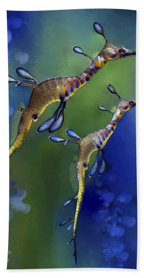 Weedy Sea Dragon Bath Sheet featuring the digital art Weedy Sea Dragon by Thanh Thuy Nguyen