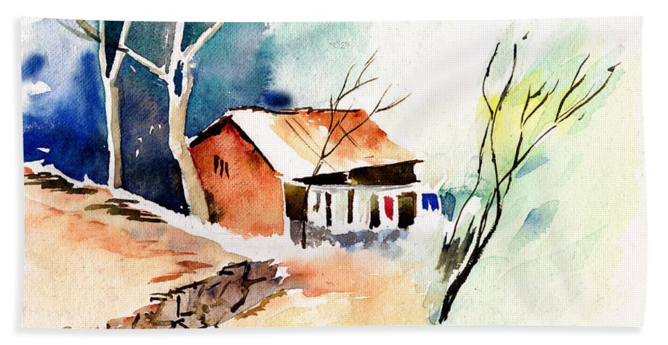 Nature Hand Towel featuring the painting Weekend House by Anil Nene