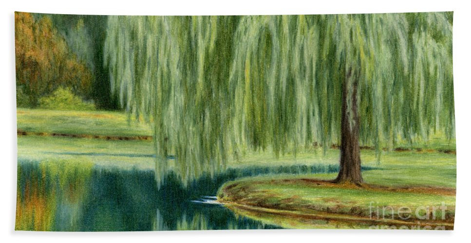 Willow Trees Bath Sheet featuring the painting Under The Willow Tree by Sarah Batalka