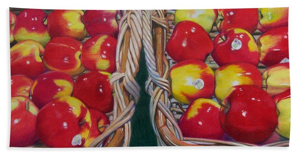 Apple Bath Sheet featuring the mixed media Wegman's Best by Constance Drescher
