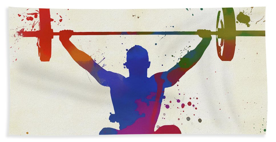Weightlifter Paint Splatter Hand Towel featuring the painting Weightlifter Paint Splatter by Dan Sproul