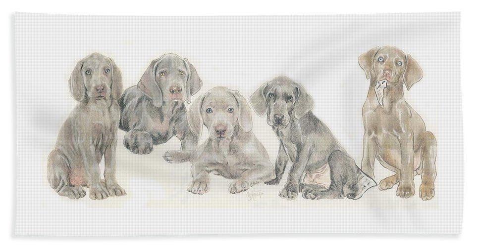 Sporting Group Bath Sheet featuring the mixed media Weimaraner Puppies by Barbara Keith
