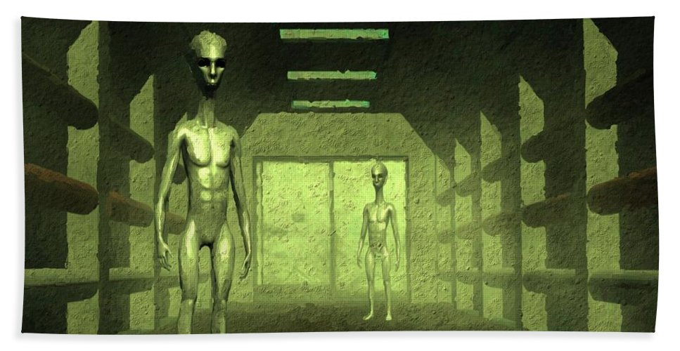 Ufo Hand Towel featuring the painting Welcome Aboard by Raphael Terra