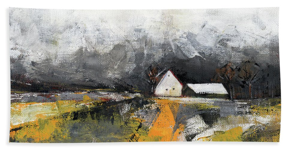 Landscape Hand Towel featuring the painting Welcome Home by Aniko Hencz