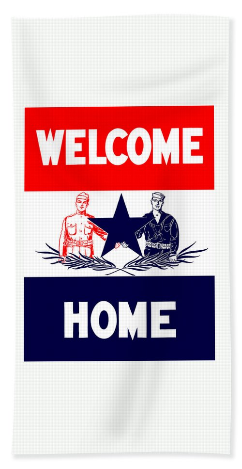 Ww1 Bath Towel featuring the mixed media Vintage Welcome Home Military Sign by War Is Hell Store