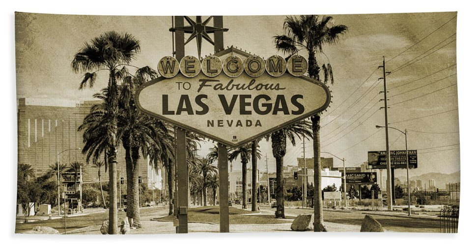 Las Bath Towel featuring the photograph Welcome To Las Vegas Series Sepia Grunge by Ricky Barnard