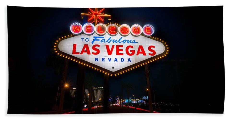 Casino Bath Towel featuring the photograph Welcome To Las Vegas by Steve Gadomski