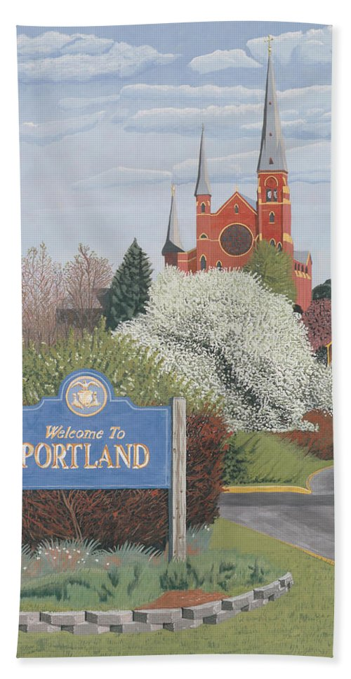 Church Hand Towel featuring the painting Welcome To Portland by Dominic White
