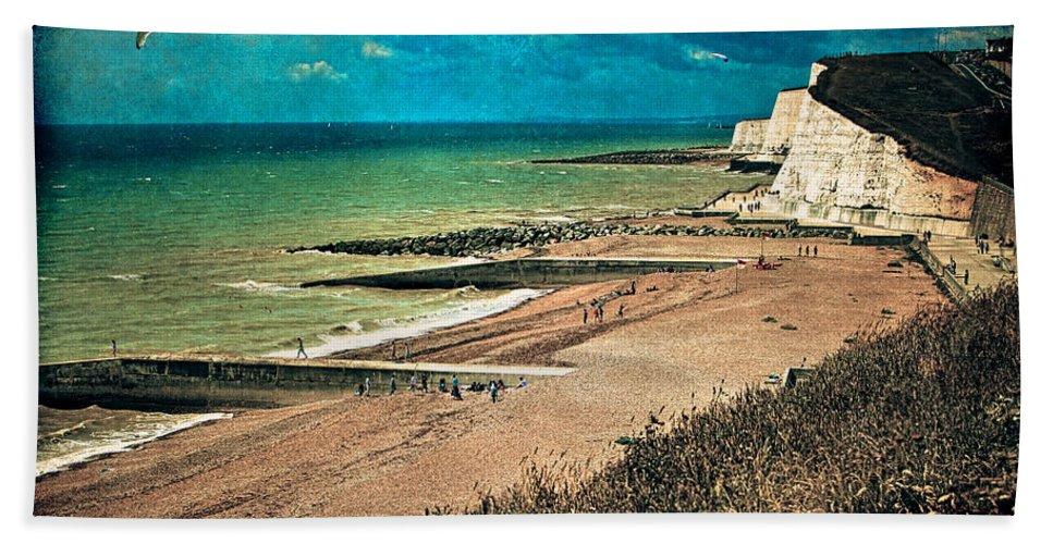 Beach Hand Towel featuring the photograph Welcome To Saltdean An Imaginary Postcard by Chris Lord
