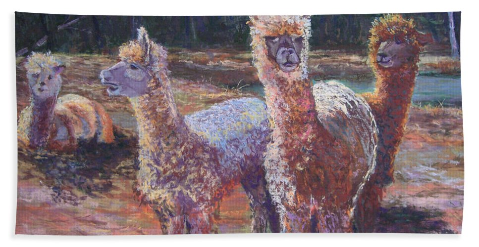 Alpaca Hand Towel featuring the pastel Welcoming Crowd by Alicia Drakiotes