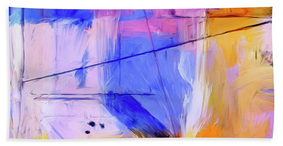 Abstract Hand Towel featuring the painting Welder by Dominic Piperata