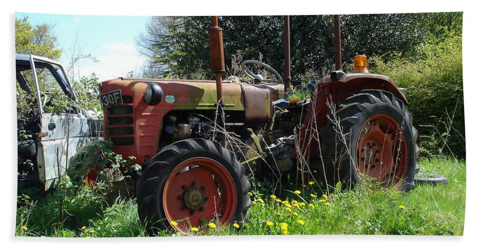 Tractor Bath Sheet featuring the photograph Well And Truely Retired by Susan Baker