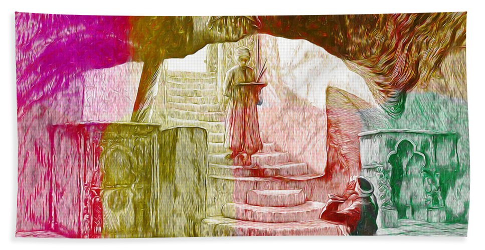 Well Of Souls Hand Towel featuring the painting Well Of Souls by Munir Alawi