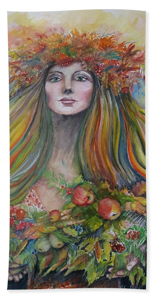 Autumn Hand Towel featuring the painting Welcome To Autumn by Rita Fetisov
