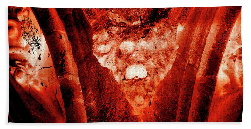 Aged Hand Towel featuring the photograph Wells Cathedral Gargoyles Color Negative A by Jacek Wojnarowski
