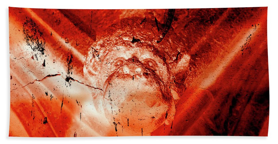 Aged Hand Towel featuring the photograph Wells Cathedral Gargoyles Color Negative D by Jacek Wojnarowski