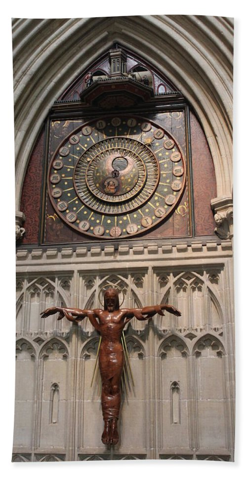 Clock Bath Sheet featuring the photograph Wells Cathedral Geocentric Clock by Lauri Novak