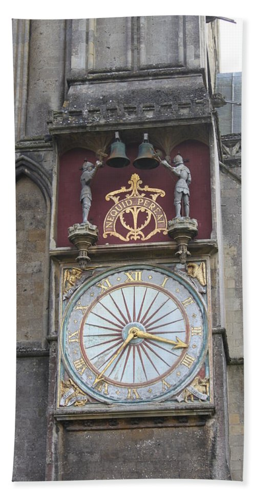 Wells Hand Towel featuring the photograph Wells Cathedral Outside Clock by Lauri Novak