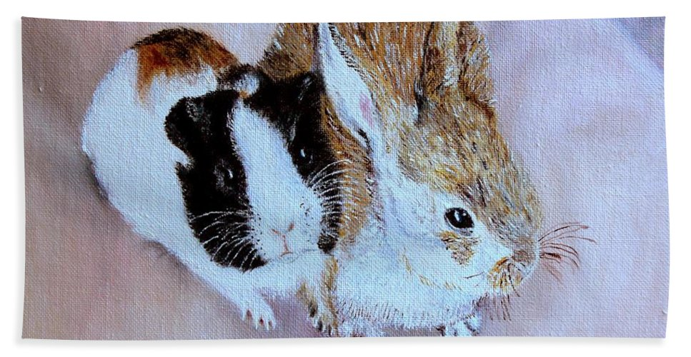 Pets Hand Towel featuring the painting Wendy And Bobby by Helmut Rottler