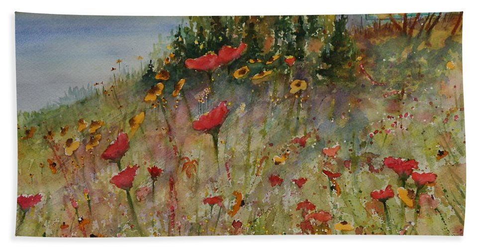 Nature Bath Towel featuring the painting Wendy's Wildflowers by Ruth Kamenev