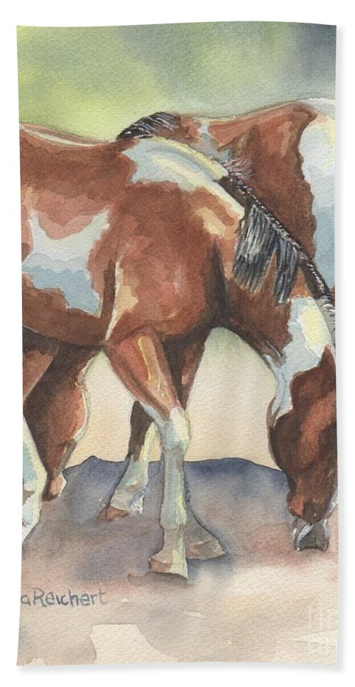 Horse Art Bath Sheet featuring the painting We're In This Together by Maria's Watercolor