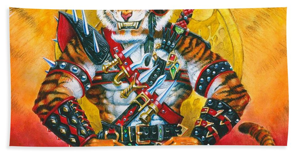 Fantasy Bath Towel featuring the painting Werecat Warrior by Melissa A Benson