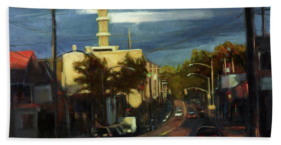 America Hand Towel featuring the painting West Brighton - October by Sarah Yuster