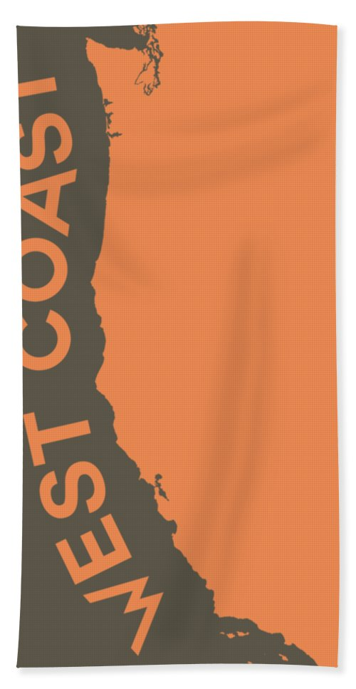 'maps - Cartography Of Past And Present' Collection By Serge Averbukh Bath Sheet featuring the digital art West Coast Pop Art - Crusta Orange On Judge Grey Brown by Serge Averbukh