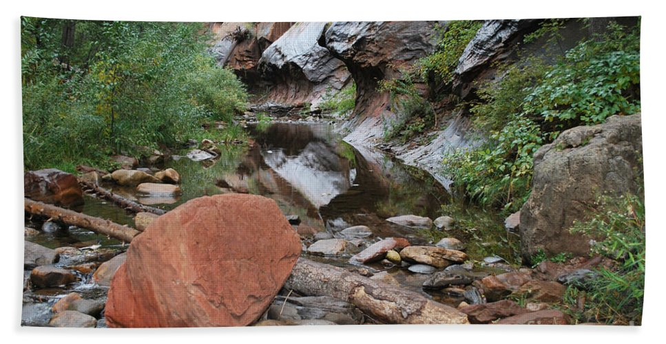 West Fork Trail River And Rock Vertical Sedona Arizona Oak Creek Canyon Wall Water Tree Bush Brush Leaf Pine Reflect Reflection Hand Towel featuring the photograph West Fork Trail River And Rock Horizontal by Heather Kirk