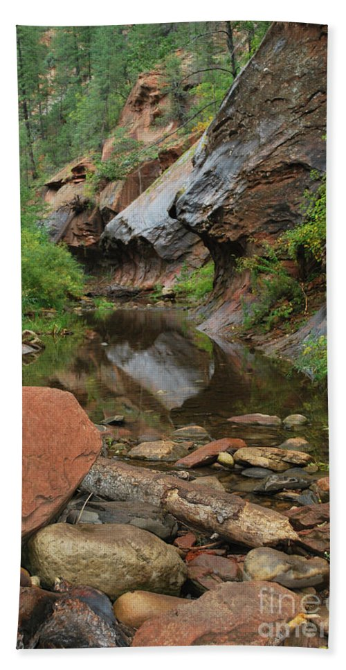 West Fork Trail River And Rock Vertical Sedona Arizona Oak Creek Canyon Wall Water Tree Bush Brush Leaf Pine Reflect Reflection Hand Towel featuring the photograph West Fork Trail River And Rock Vertical by Heather Kirk