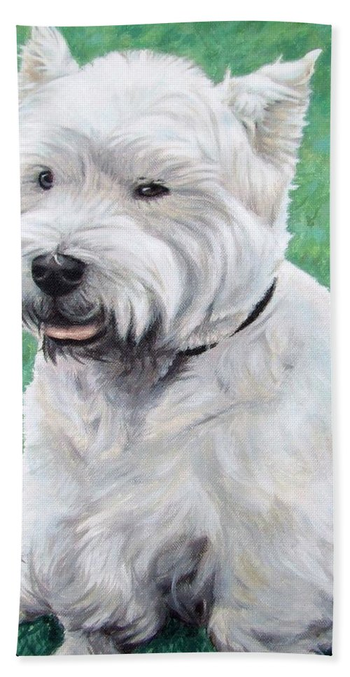 Dog Hand Towel featuring the painting West Highland Terrier by Nicole Zeug